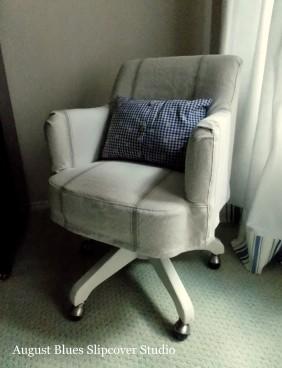 August Blues - desk chair grain sack slipcover
